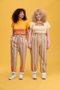 Lucy & Yak jeans Addison High Waisted Organic Cotton Twill Jeans in Earthy Rainbow