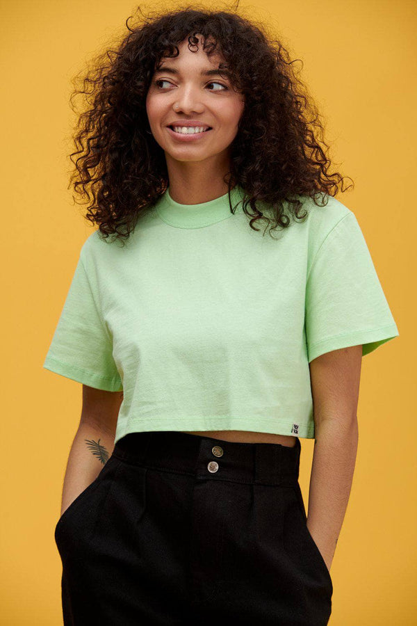Lucy & Yak Top Nola Boxy Cut Cropped Tee In Paradise Green
