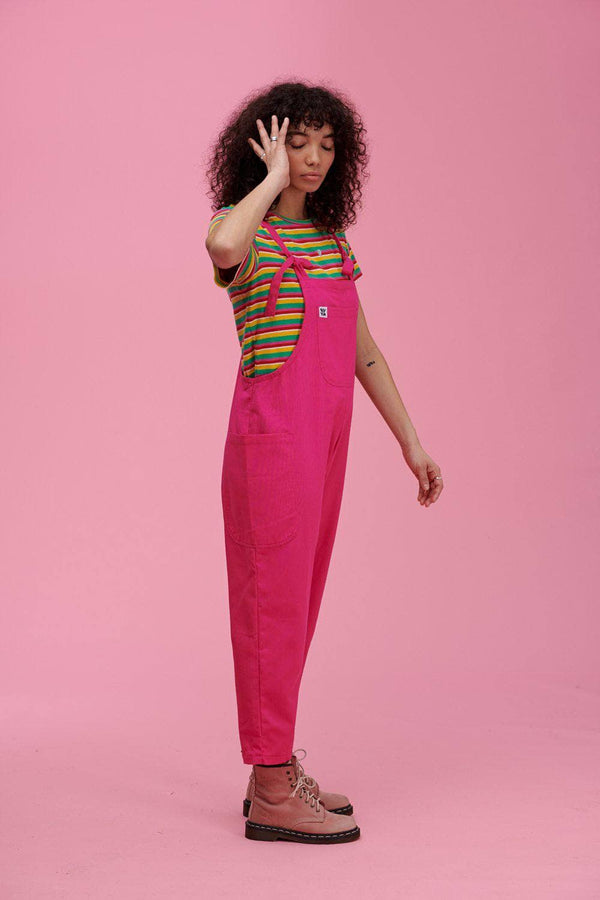 Lucy & Yak Dungarees 'Luna' Organic Cotton Twill Cropped Dungarees in Hot Pink
