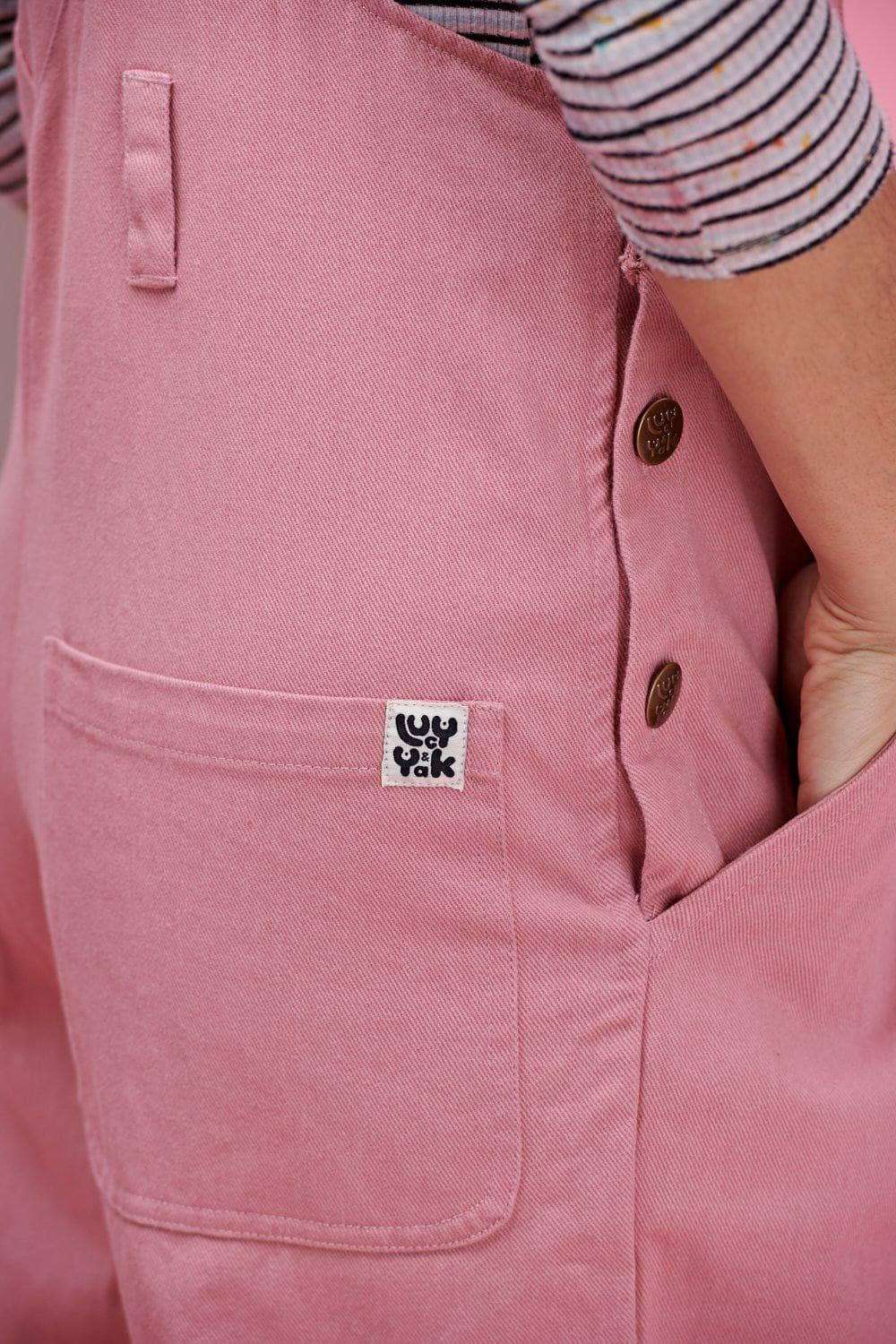 Lucy & Yak Dungarees 'Easton' Organic Heavy Cotton Twill Baggy Dungarees in Blush Pink