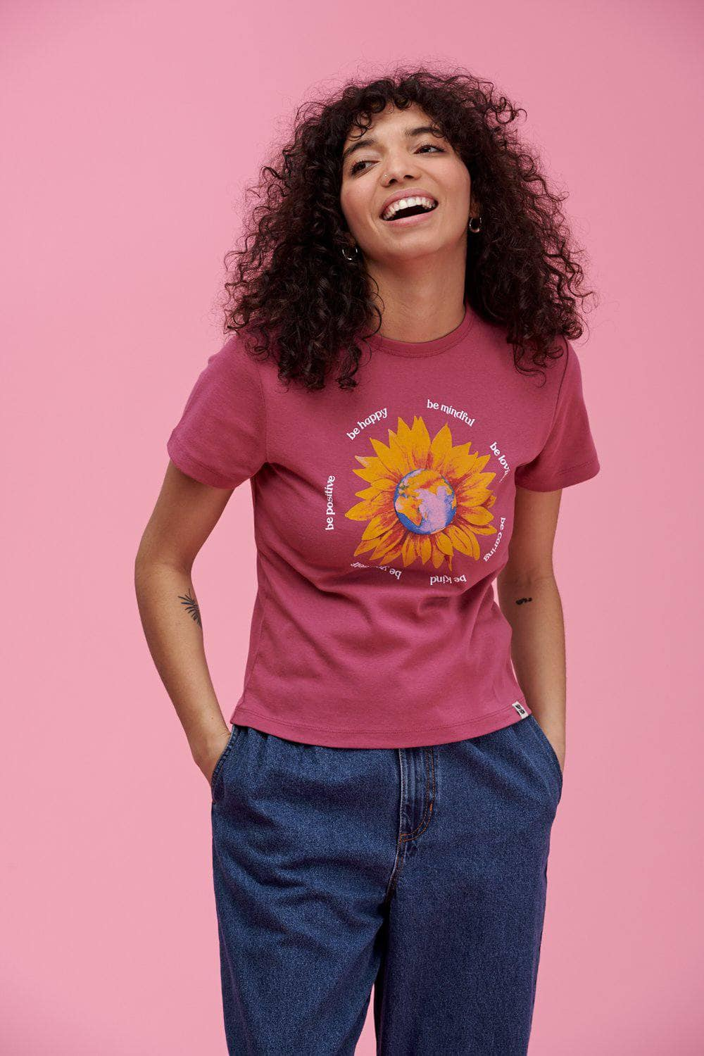 Lucy & Yak Tops 'Sunflower Earth' Little Ribbed Tee In Malaga