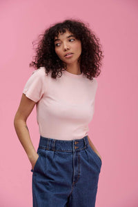 Lucy & Yak Tops Maya Little Ribbed Teeshirt In Pink