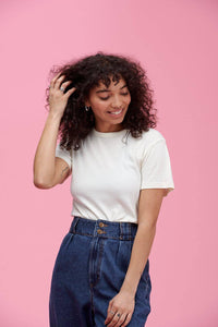 Lucy & Yak Tops Maya Little Ribbed Teeshirt In Ecru