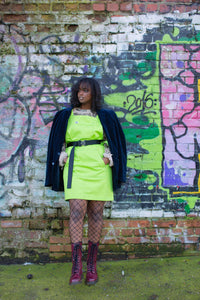 Lucy & Yak Dress Made in Britain - Ripley Mini Pini Dress in Lime