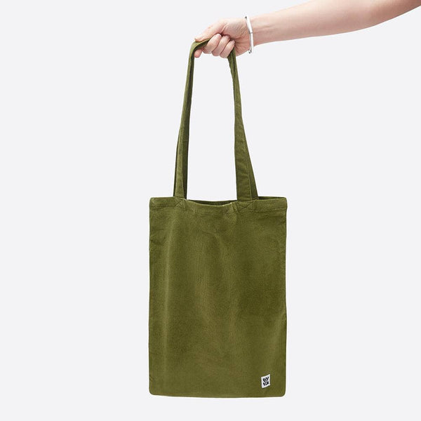 Lucy & Yak Bag ♻️'Idly' Recycled Corduroy Tote Bag in Olive Green ♻️