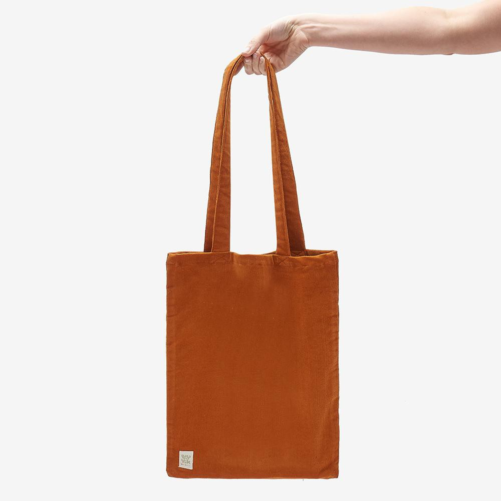 ♻️'Idly' Recycled Corduroy Tote Bag in Rust Orange ♻️