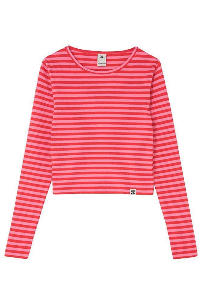 Lucy & Yak Tops Rey Organic Cotton Long Sleeved Tee in Pink & Red Stripe