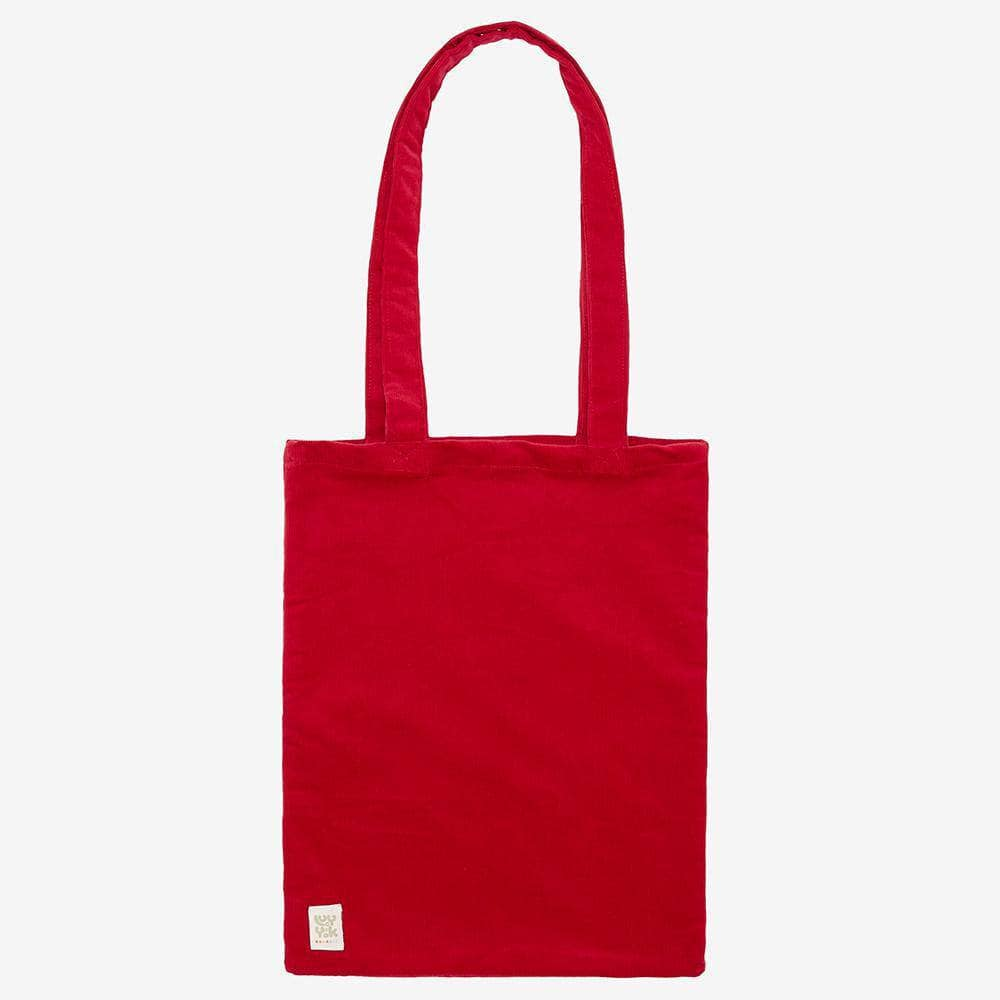 ♻️'Idly' Recycled Corduroy Tote Bag in Salsa Red ♻️