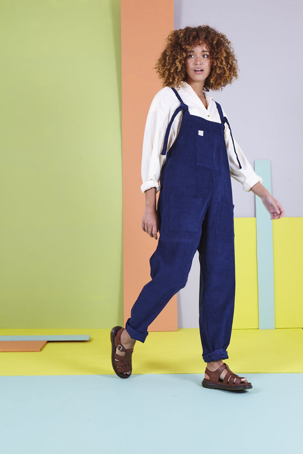 Lucy & Yak Organic Dungarees Tall - 'The Organic Original' Corduroy Dungarees in Sailor Blue