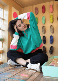 Lucy & Yak Tops 'Marley' Cropped Half Zip Sweater in Turquoise with Ecru and Pink Panels