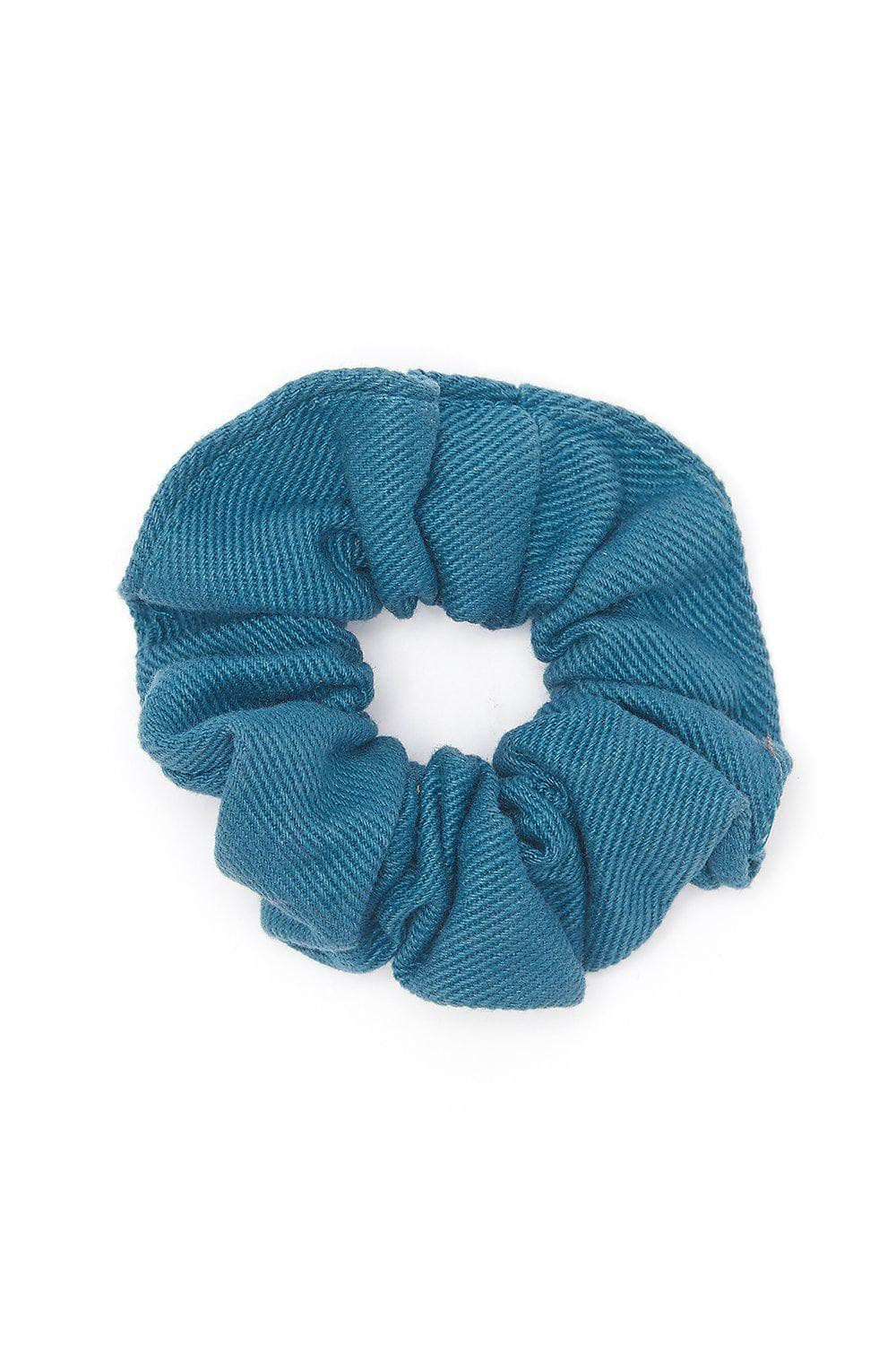 Lucy & Yak accessories 'Carter' Hair Scrunchie In Petrol Blue Cotton