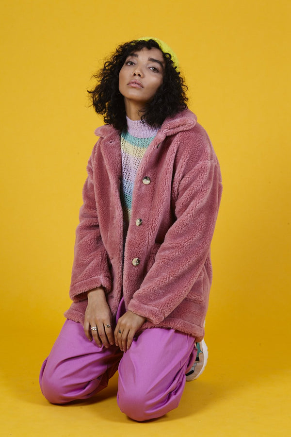 'Rhoden' Teddy Sherpa Fleece Jacket in Rose Pink