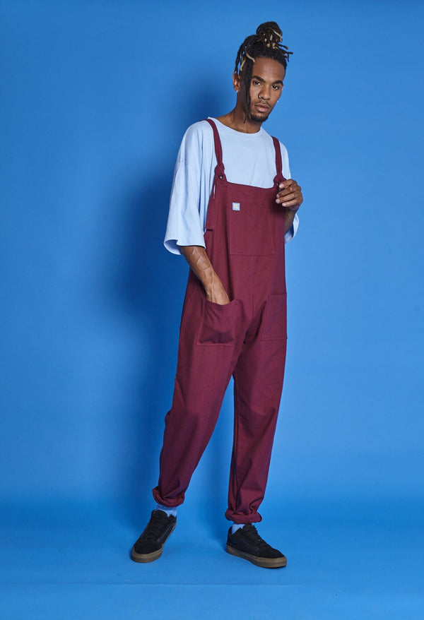 Lucy & Yak Cotton Dungarees Mens Organic 'Umi' Cotton Dungarees in Maroon