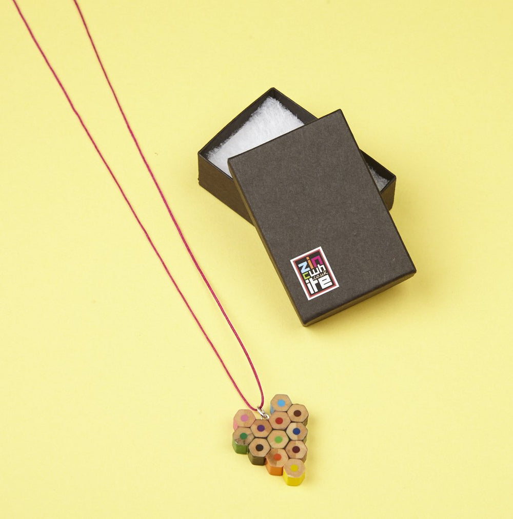 Recycled Pencil Heart Necklace by Zinc White
