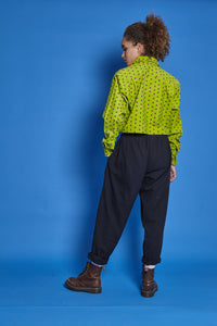 'Organic Taupo' High Waist Cotton Trousers in Midnight Black