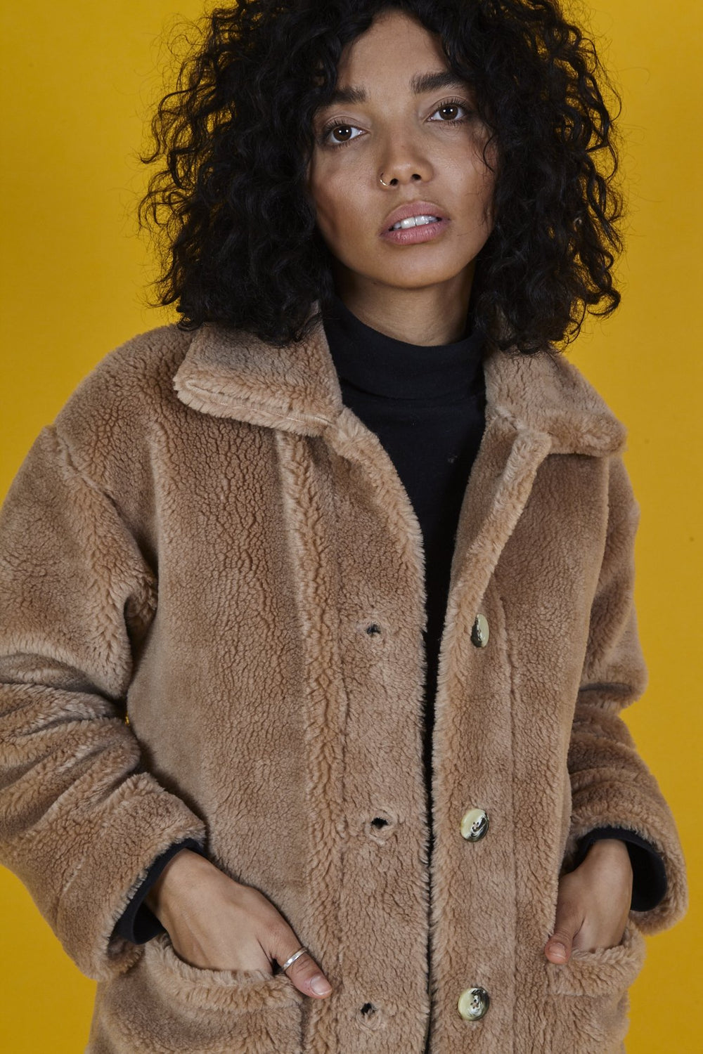 'Rhoden' Teddy Sherpa Fleece Jacket in Oatmeal