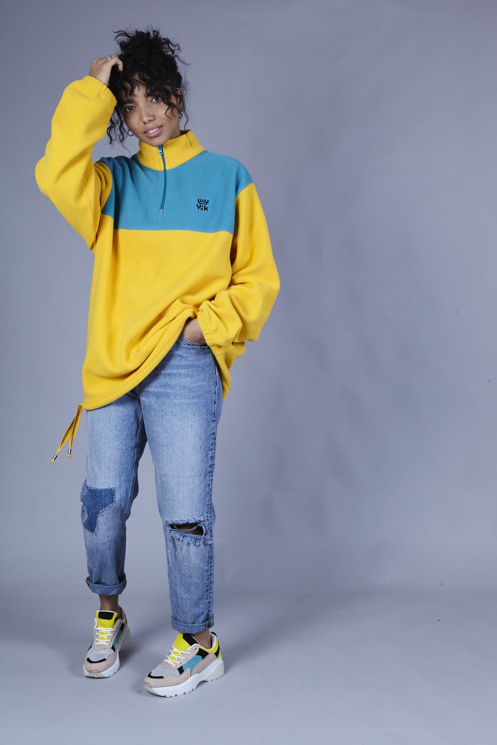 'Stevie' Oversized Polar Fleece in Yellow & Teal