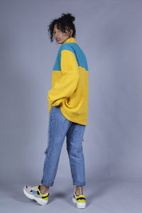 Lucy & Yak Polar Fleece 'Stevie' Oversized Polar Fleece in Yellow & Teal