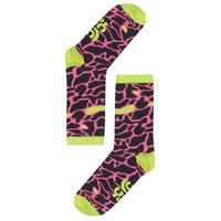 Lucy & Yak Socks 'Huey' Organic Cotton Socks in Black, Pink & Lime Animal Print