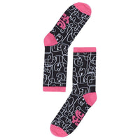 Lucy & Yak Socks 'Squiggle' Organic Cotton Calf Socks In Black & White With Pink Edge