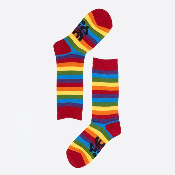 Lucy & Yak Socks 04-Jul 'Phoebe' Organic Cotton Socks Rainbow Striped in Calf Length