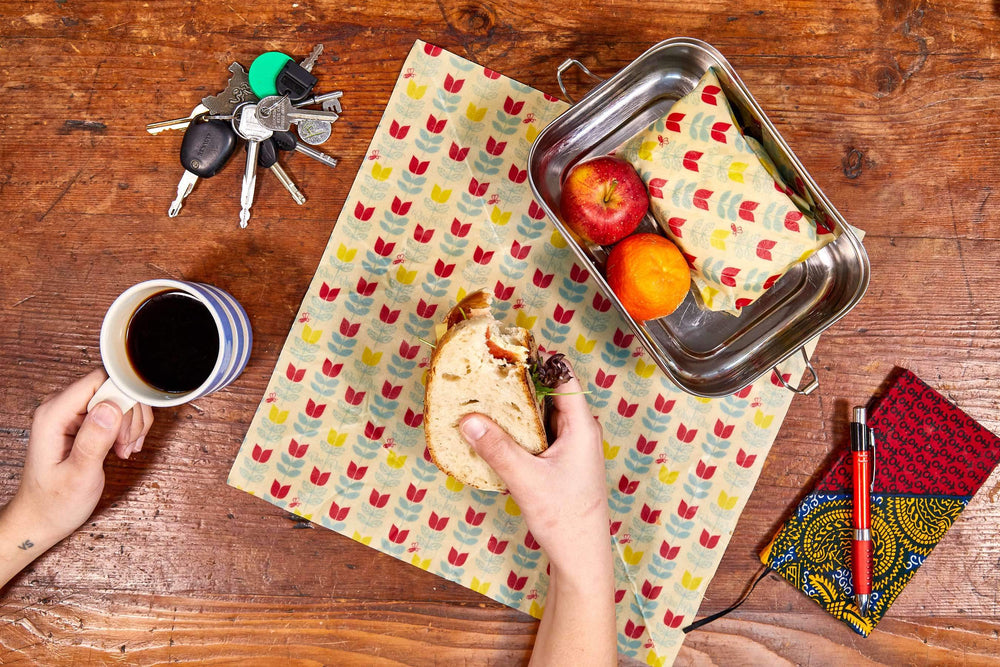 BeeBee Organic Cotton Beeswax Food Wraps in Tulip Print - Pack of 3