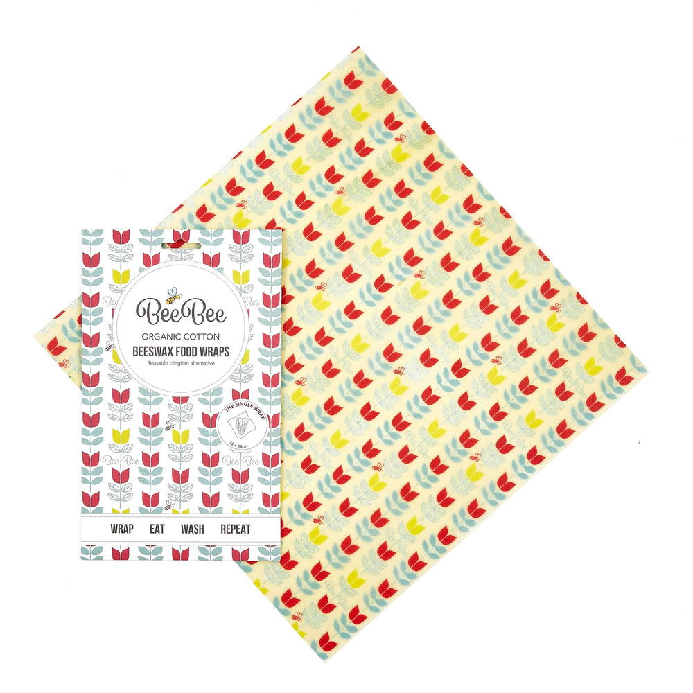 Lucy & Yak Kitchen Goods BeeBee Organic Cotton Beeswax Food Wraps in Tulip Print - Pack of 3