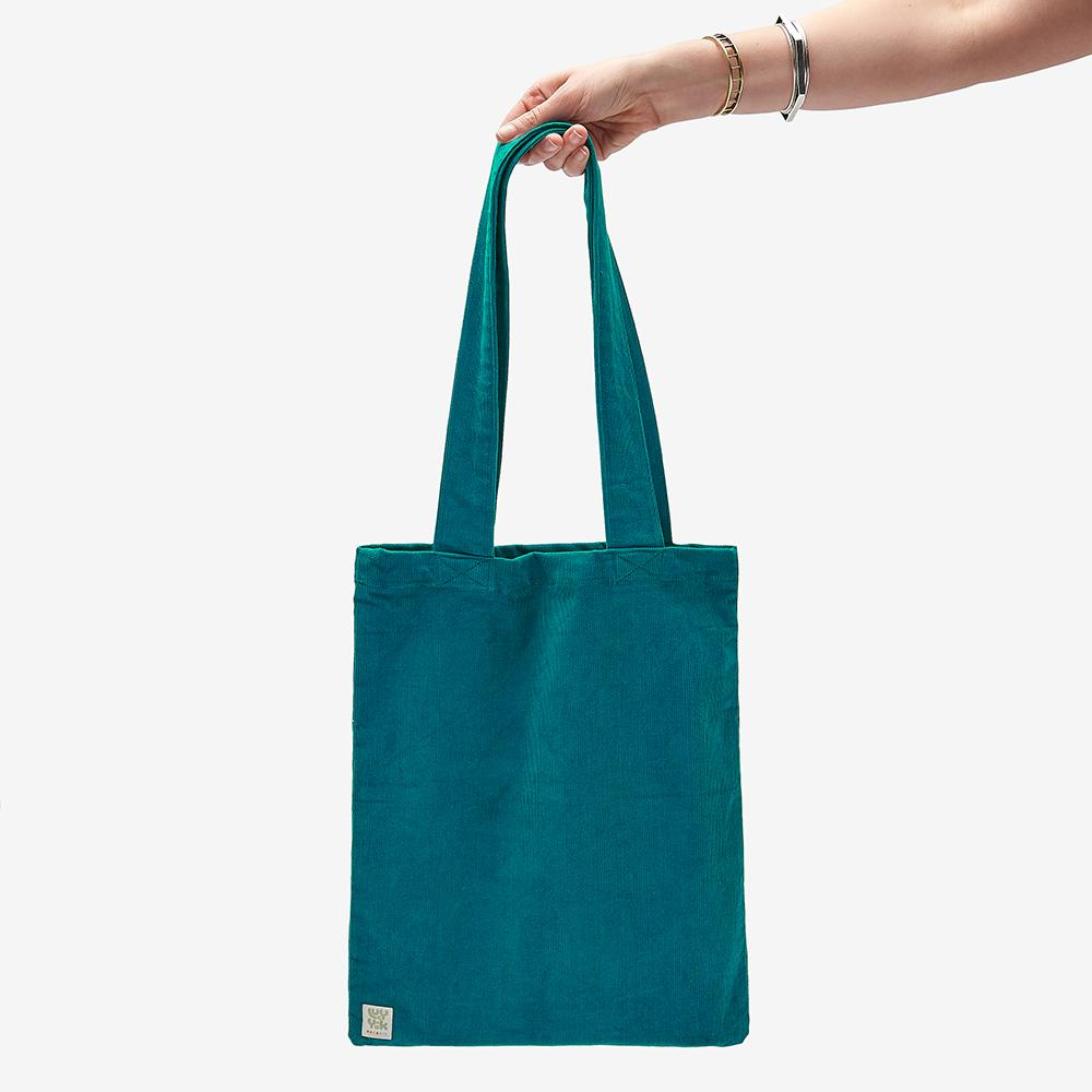 Lucy & Yak Bag ♻️'Idly' Recycled Corduroy Tote Bag in Teal ♻️