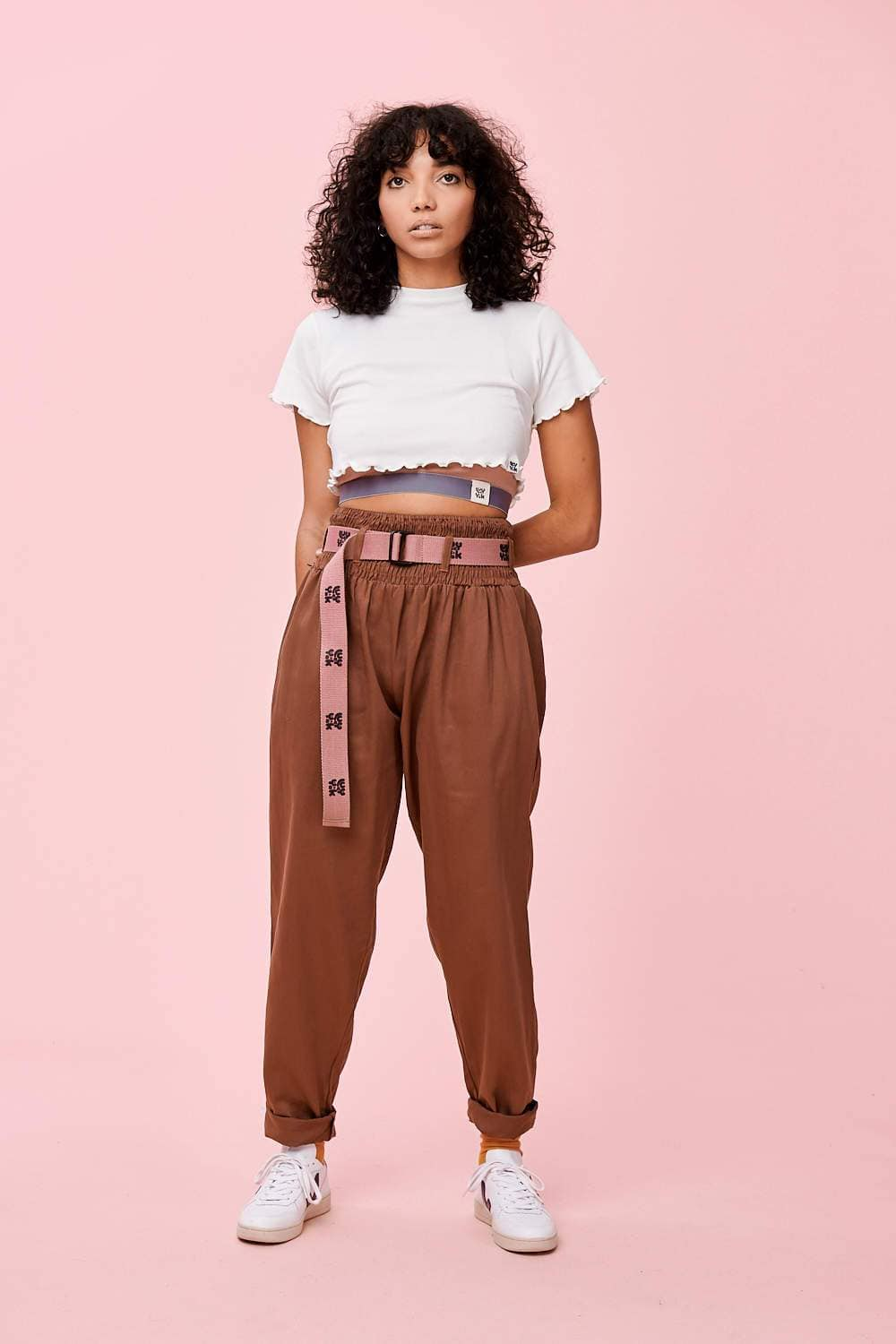 Lucy & Yak cotton trousers 'Alexa' Lightweight Organic Cotton Trousers In Mink