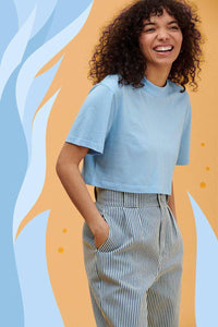 Lucy & Yak Tops 'Wave' SeaCell Boxy Cut Cropped Short Sleeve Tee in Bluebell