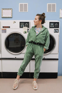 Lucy and Yak jumpsuit 'Eddie' Organic Corduroy Boilersuit in Mint Green