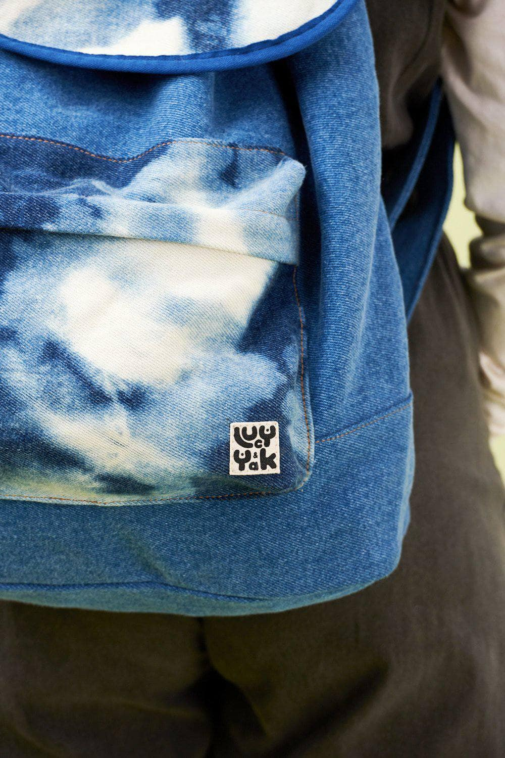 Lucy & Yak Bag Finley Drawstring Backpack in Washed Denim Tie Dye
