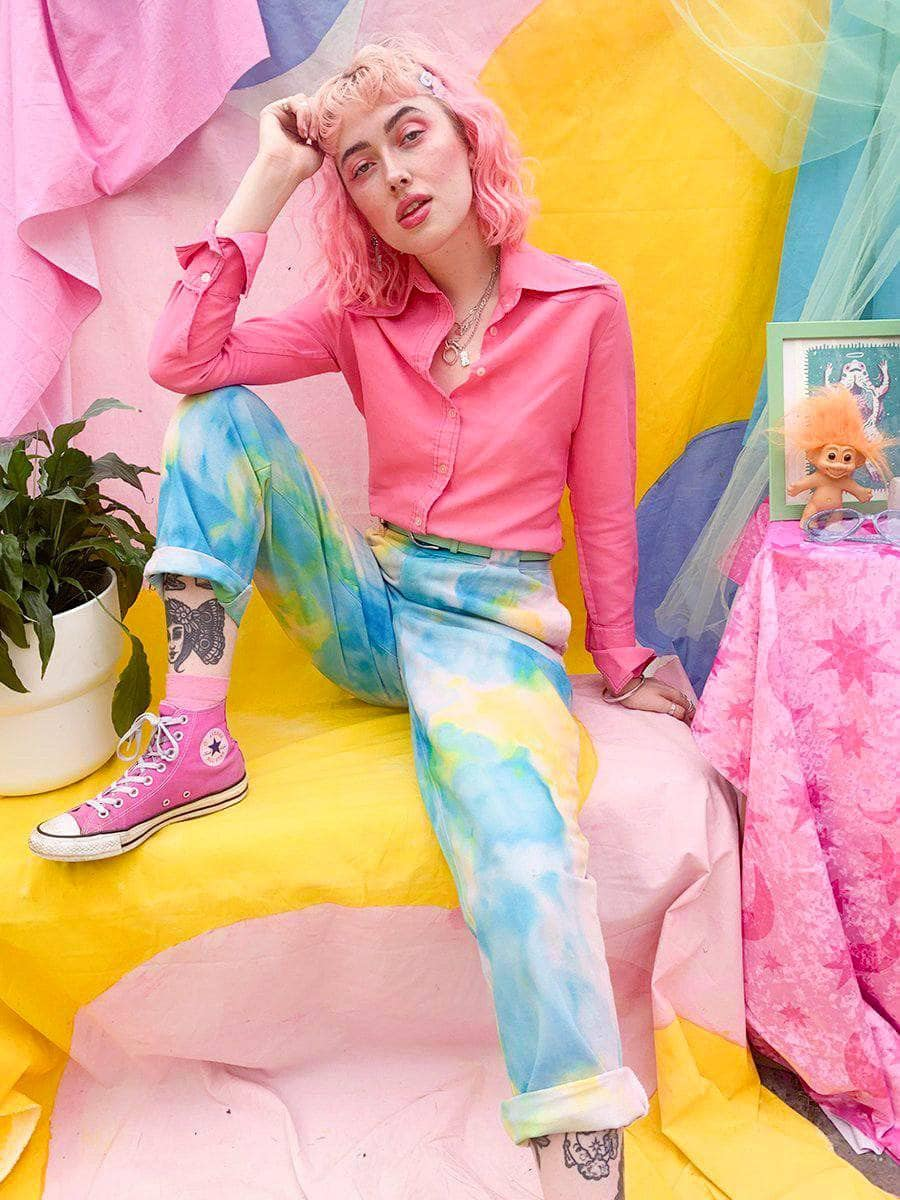 Lucy & Yak trousers Addison Jeans In Tie Dye Blue - We Are Hairy People x Lucy & Yak