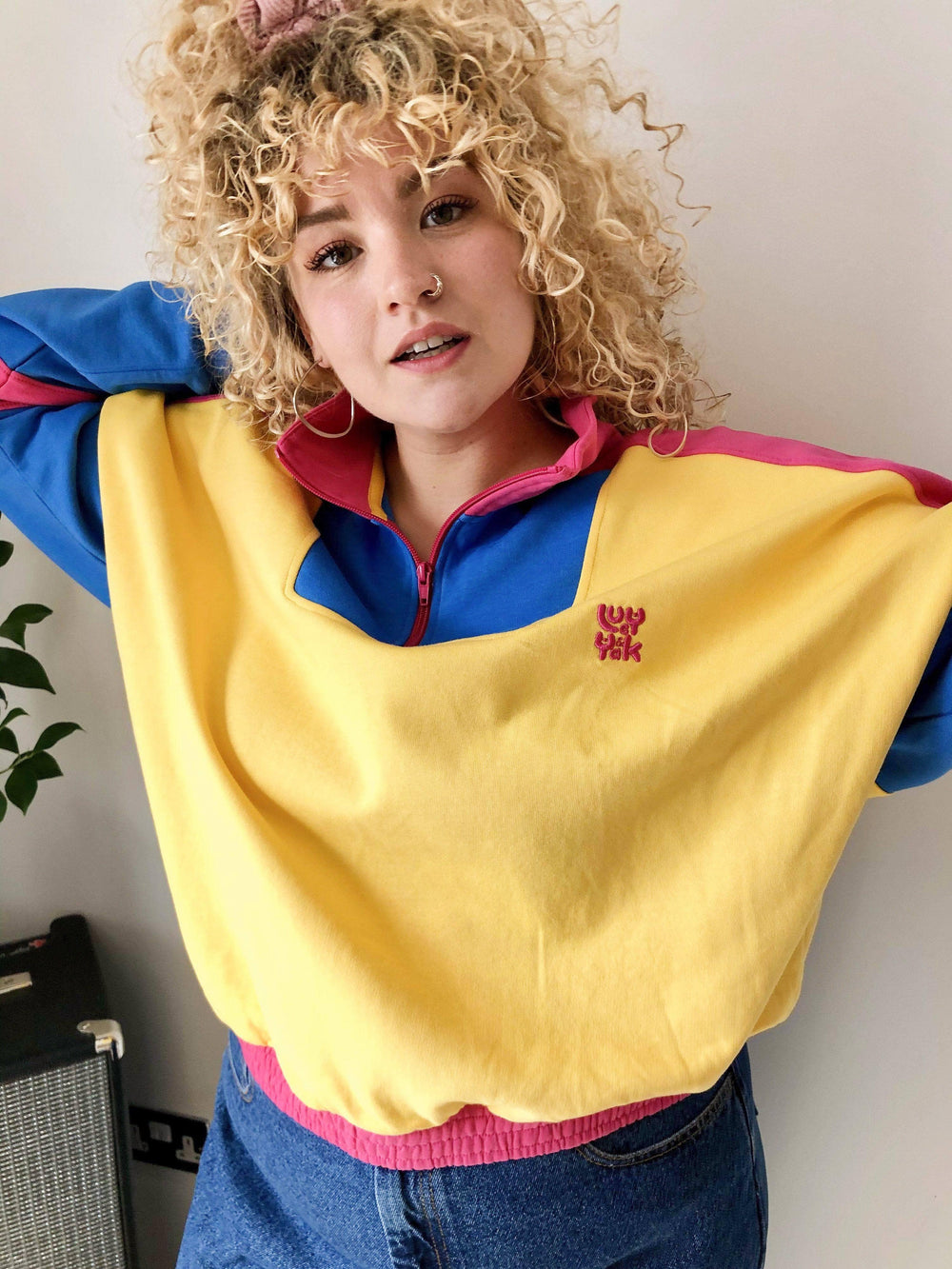 Lucy & Yak Tops Marley Cropped Half Zip Sweater In Yellow, Blue & Pink