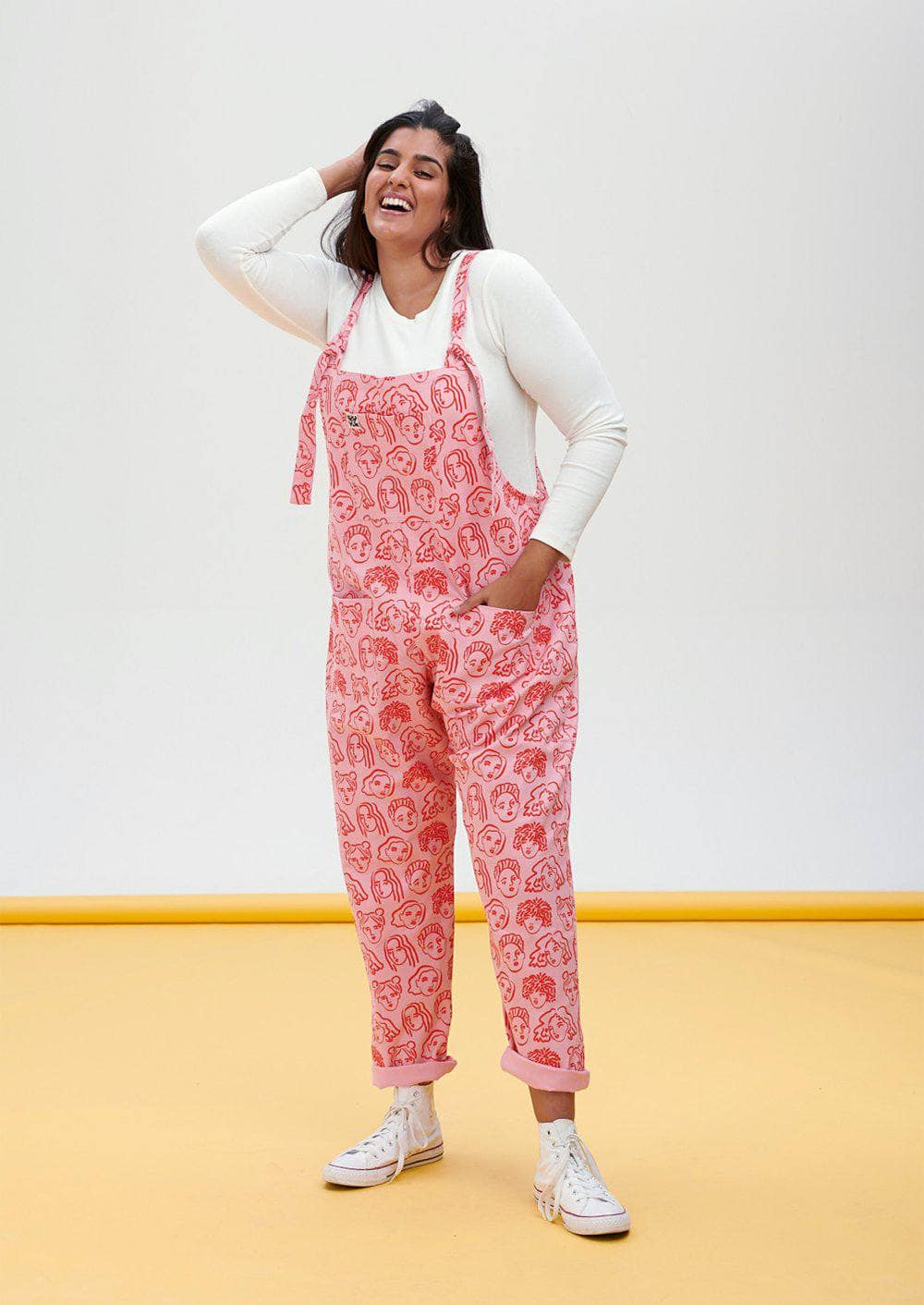 Lucy & Yak Dungarees Limited Edition Organic Cotton Dungarees in Pink Faces Print