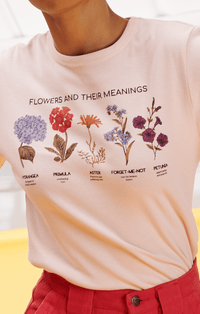 Lucy & Yak Tops 'Flowers & Their Meanings' Organic Cotton Tee in Pink with Botanical Drawings