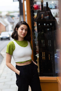 Lucy & Yak Tops 'Piper' Crop Vest Top in Ecru