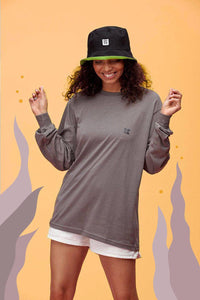 Lucy & Yak Tops 'Kenny'  SeaCell Long Sleeved Skater Top In Charcoal Grey