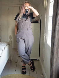 Lucy & Yak Dungarees 'Easton' Organic Heavy Cotton Twill Baggy Dungarees in Charcoal Grey