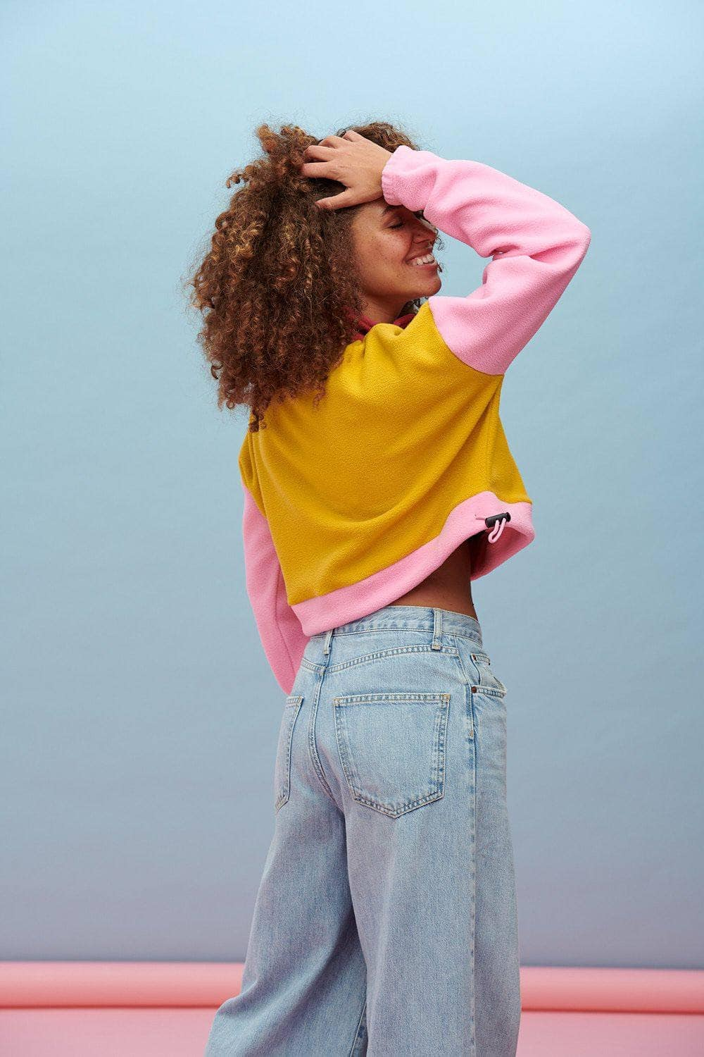 Lucy & Yak Fleeces Blake Cropped Fleece In Pink, Olive & Rose