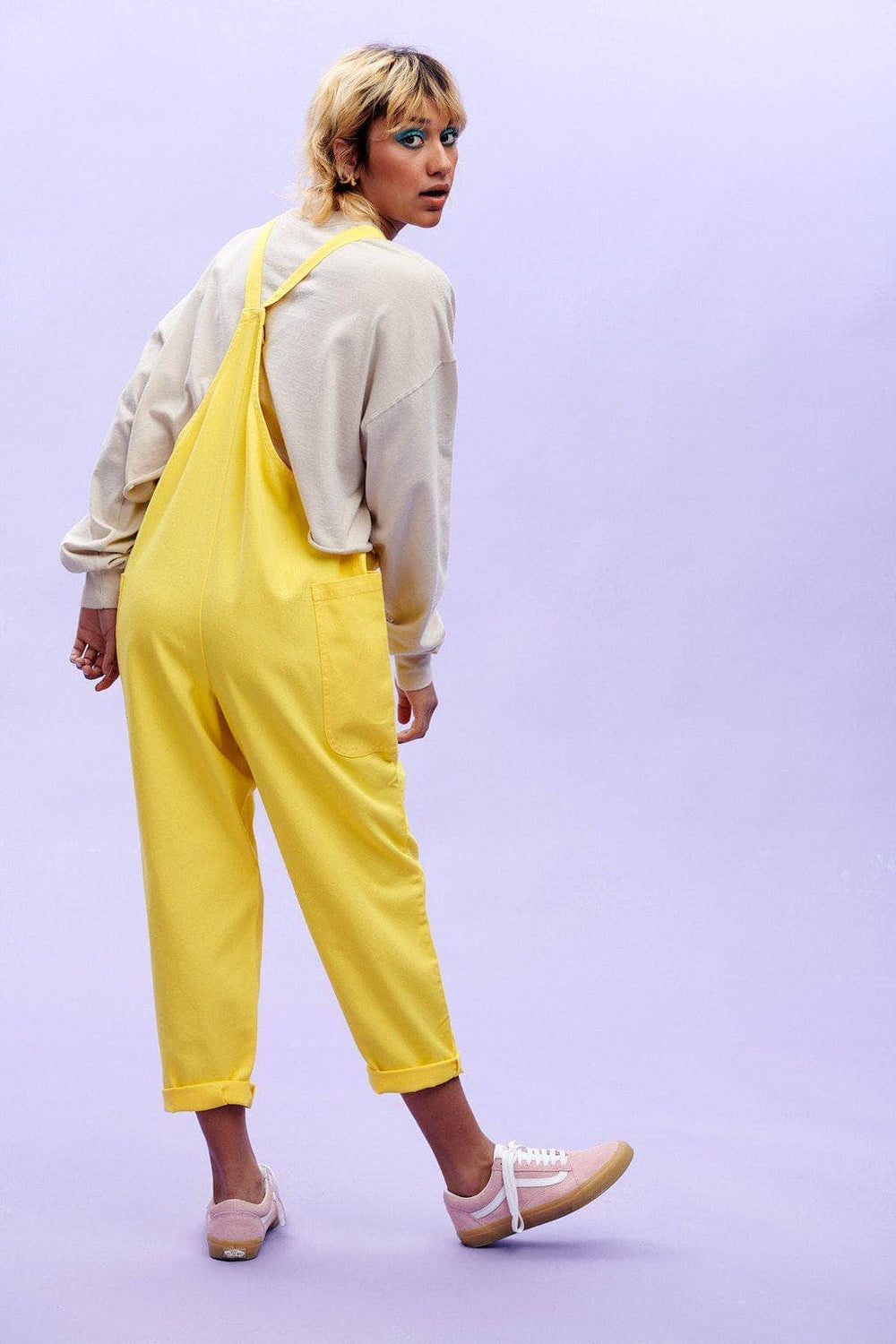 Lucy & Yak Dungarees 'Luna' Organic Cotton Twill Cropped Dungarees in Blazing Yellow