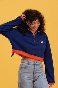 Lucy & Yak Polar Fleece Blake Cropped Fleece In Navy