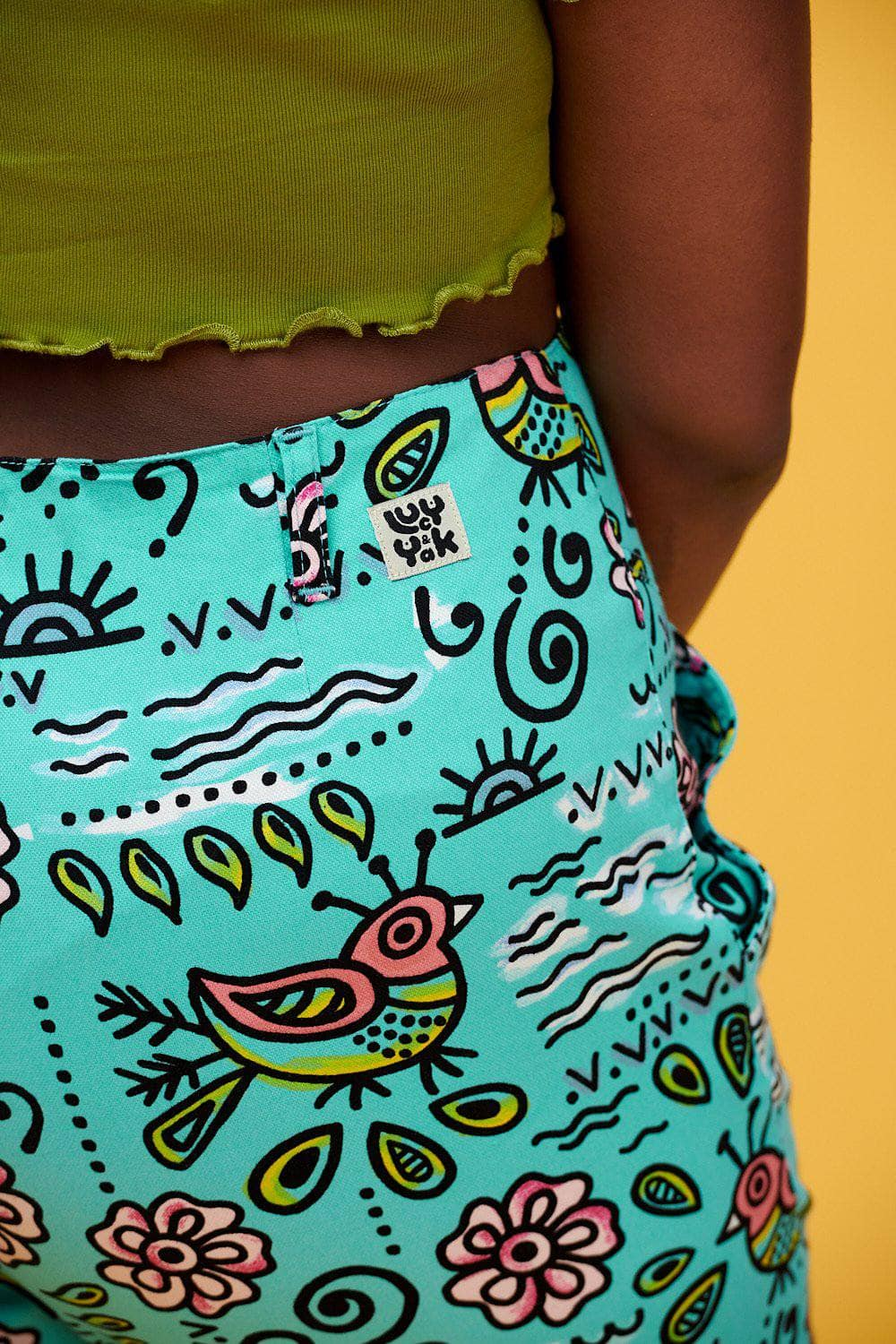 Lucy & Yak trousers 'Camden' Organic Cotton High Waisted Trousers in Turquoise Bird Print