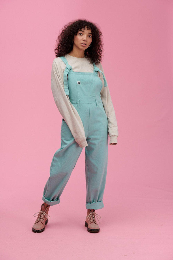 Lucy & Yak Dungarees Easton 90's Shape Baggy Dungarees In Egg Shell - New Sizing