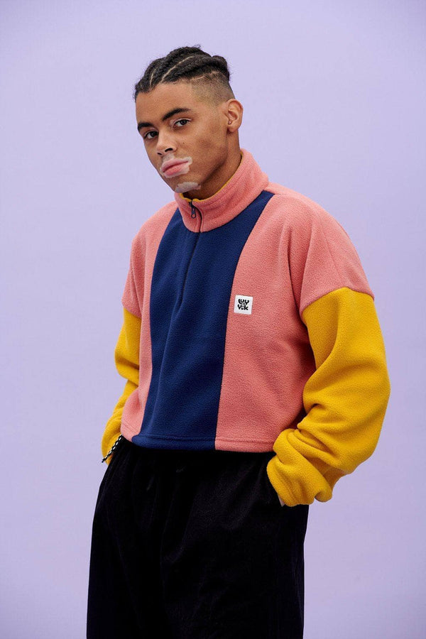 Lucy & Yak Tops 'Blake' Cosy Cropped Fleece in Pink, Navy & Mustard
