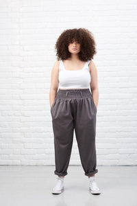 Lucy & Yak cotton trousers 'Alexa' Lightweight Organic Cotton Trousers in Storm Grey