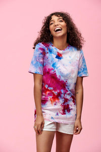 Lucy & Yak Tops Tie Dye Teeshirt In Pink - We Are Hairy People x Lucy & Yak