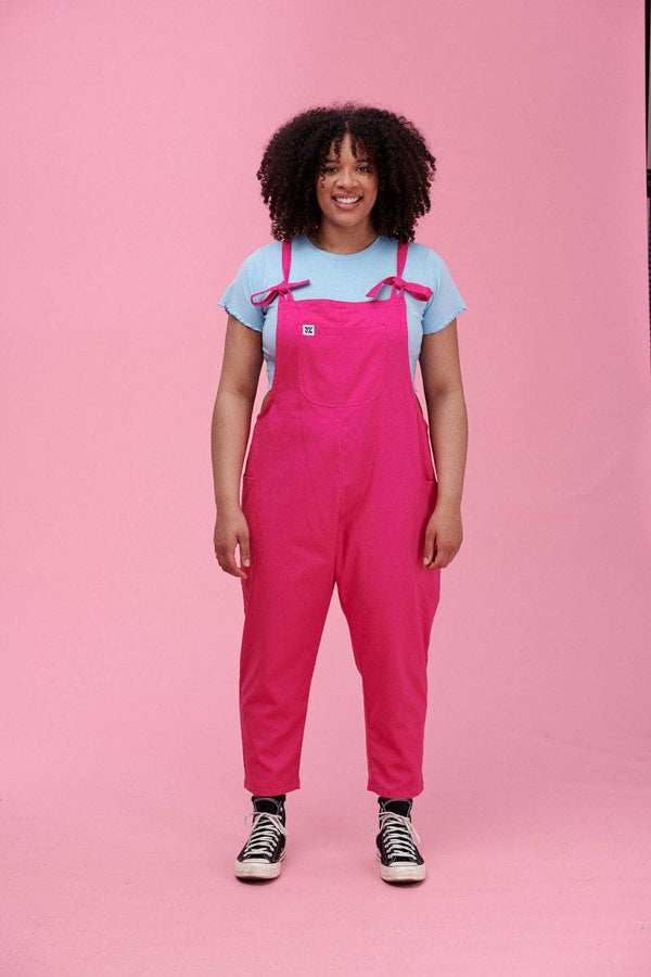 Lucy & Yak Dungarees Luna Cotton Twill Dungarees In Hot Pink