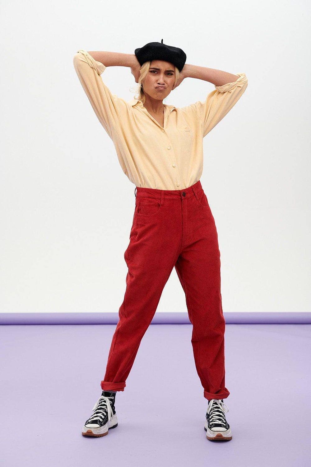Lucy & Yak trousers Dallas Organic Corduroy Trousers in Haute Red