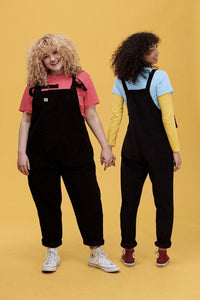 Lucy & Yak Organic Dungarees 'The Organic Original' Corduroy Dungarees in Charcoal Black - Old Sizing